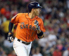 26 SEP 2015:      Carlos Correa of the Astros during the regular season game between the Texas Rangers and the Houston Astros at Minute Maid Park in Houston, TX.  (Photo by Cliff Welch/Icon Sportswire)