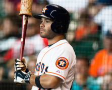AUG 16, 2015: Houston Astros second baseman Jose Altuve (27) waits in the batting circle in the ninth inning against the Detroit Tigers. Houston Astros defeated Detroit Tigers 6-5 in Houston.