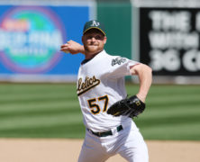 18 APRIL 2010: Oakland Athletics pitcher Chad Gaudin #57 pitches in relief as the Orioles beat the A's 8-3 at the Oakland-Alameda Coliseum in Oakland, California ***FOR EDITORIAL USE ONLY****