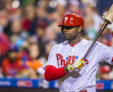 29 April 2016: Philadelphia Phillies first baseman Ryan Howard (6) gets ready in the batters box during the MLB game between the Philadelphia Phillies and the Cleveland Indians played at Citizens Bank Park in Philadelphia, PA. (Photo by Gavin Baker/Icon Sportswire)