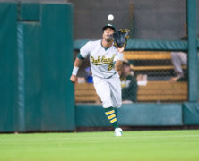 Oakland Athletics left fielder Khris Davis (2) makinf=g a catch for the out in the sixth inning during an MLB baseball game between the between the Houston Astros and the Oakland Athletics at Minute Maid Park, Tuesday, July 5, 2016, in Houston. ( Juan DeLeon/Icon Sportswire )